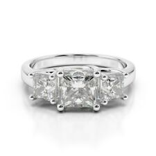 2.00 Ct Princess Cut Bridal Diamond Engagement Ring 18K Solid White Gold Rings