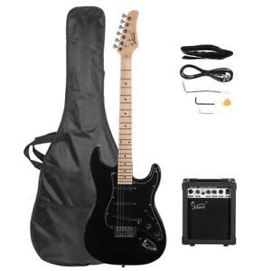 E-Gitarre Set Elektrogitarre E Gitarre VerstÄrker 20W Schwarz mit Tragetasche