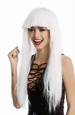 Perücke Damenperücke Karneval Halloween lang glatt Pony weiß Disco Glam 1373-60