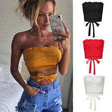 Fashion Women's Knitted Ruffled Frill Off Shoulder Ribbed Long Sleeve Crop Top