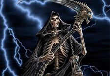 "5.75"" Grim reaper lightning vinyl sticker decal motorcycle guitar helmet custom"