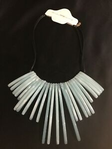 Vintage Style Bib Necklace With Long Dangley Blue Beads. Blue Statement Necklavr