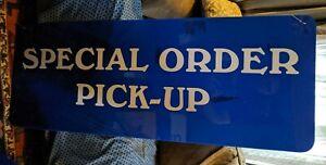 SPECIAL ORDER PICK-UP HUGE LARGE 48X18 STORE SIGN BLUE WHITE ADVERTISING VTG