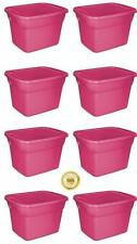 8 Plastic Tote Box 18 Gallon Pink Stackable Storage Bin Container with Lid *NEW*