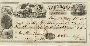 Check, 5.31.1858,New York-Ilion Bank, Herkimer County,$333.67, Very Fine Cond