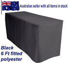1.8m 6FT Fitted Black Trestle Table Cover cloth fitted Weddings Parties Markets