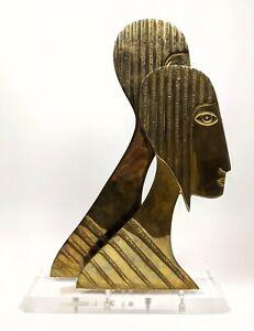 MCM ~ Modernist  Brass PROFILES Sculpture on Lucite Base / FREE SHIP