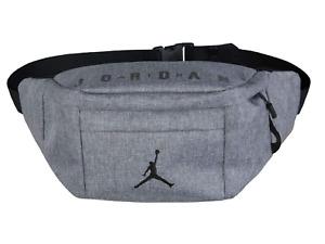 NWT Nike Air Jordan Crossbody Bag Gray Pack Waist Bag Zipper Logo Jumpman Canvas