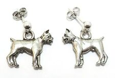 Pewter Boxer Dog Charms on Sterling Silver Ball Post Stud Earrings- 5047
