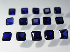 Blue Sapphire 6x6mm Square Emerald Princess Cut Loose Corundum Gemstones