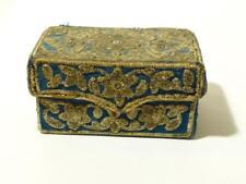 Rare 18thC Blue Silk & Silver Bullion Thread Embroidered Floral Hinged Box