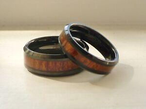 TUNGSTEN CARBIDE HIS & HER WEDDING BAND RING SET hawaiian koa wood inlay 5-15