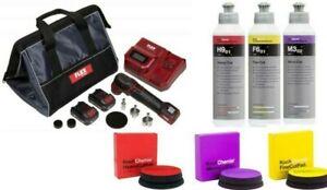 FLEX PXE 80 12.0V  Cordless Mini Nano Polisher Kit w/ koch chemi buffing bundle