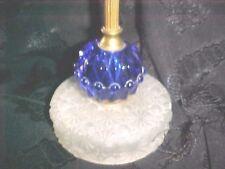 MID CENTURY MODERN BLUE HOBNAIL,WHITE FROST STAR DESIGN LAMP 50's 60's