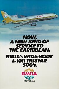 Original Vintage Poster BWIA Airline Caribbean Airplane Travel