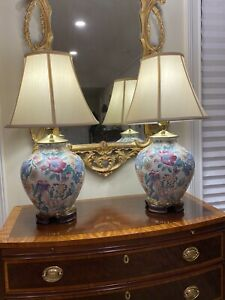 Pair of Hand-Painted Oriental Porcelain Lamps: Floral on White