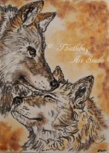 ACEO Wolf DogAnimal Original Artwork Art Card Signed Artist Christmas Gift