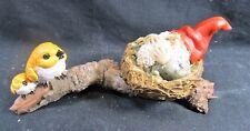 Garden Gnome Napping in a Bird's Nest Fantasy Figurine