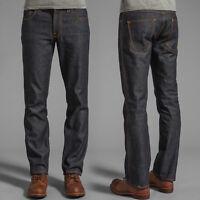 Nudie Herren Slim Straight Fit Raw Jeans Hose |Slim Jim Dry Deep Indigo