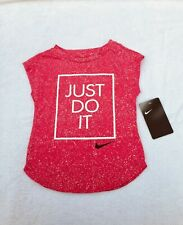 NWT Girls Toddler 2T Athletic Cut Nike Cap Sleeve Tank Top Just Do It Rush Pink