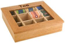 Teebox Teespender Multibox Portionsspender Teedose 31 x 28 x 9 cm Holz hell