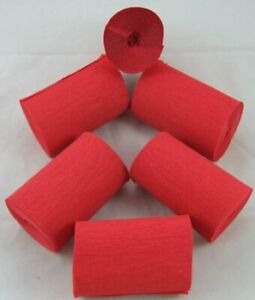 6 Red Wide Crepe paper EACH Streamers 80mm x 10metres quauliy decoration