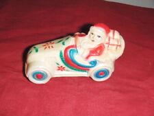 Rare Antique CELLULOID SANTA Vintage Car Rattle Christmas Decoration Ornament