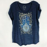 Lucky Brand Navy Blue & Gold Hasma Graphic Tee Short Sleeve Scoop Neck Size XL