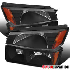 For 2002-2006 Chevy Avalanche 1500 2500 Black Headlights+Bumper Lamps Pair