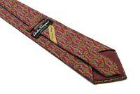 vintage SALVATORE FERRAGAMO red 100% silk Tie made in Italy necktie floral