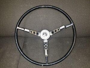 1965 1966 Ford Mustang Black Steering Wheel and Horn Ring. Original Used OEM