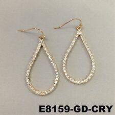 Rhinestones Gold Finish Hook Dangle Earrings Elegant Round Tear Drop Shape Clear