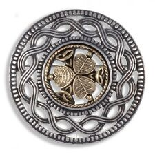 Miracle Pewter Gold Plated Shamrock Celtic Knotwork Round Brooch UK Made