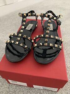 Valentino Garavani Rockstud Black Sandals Size 4