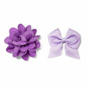 Cat and Jack Girls Lilac Rose Salon Clip and Lavender Traditional Bow Hair Clip