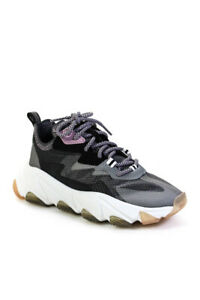 Ash Womens Lace up Round Toe Eclipse Trainers Fog Silver Black White Fog Size 5