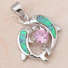 **AWESOME* SILVER/RHODIUM PLATED GREEN FIRE OPAL /PINK TOPAZ PENDANT 27x18