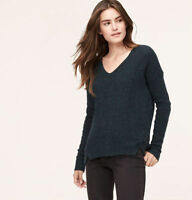 NWT Ann Taylor Loft Teal Slouchy Stitched Textured Drop Shoulder Sweater $69