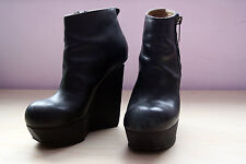 """Acne """"Hybria"""" Platform Wedge Ankle Boots Black Leather Size 38 (US 7.5-8)"""