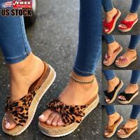 Ladies Women's Peep Toe Bowknot Platform Slip On Heel Wedge Summer Sandals Size