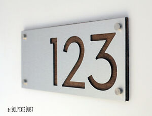 Modern House Numbers, Alucobond with Wood - Contemporary Home Address