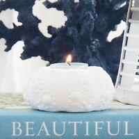 White Urchin Tealight Candle Holder Porcelain 9cm Hamptons Coastal Home Decor