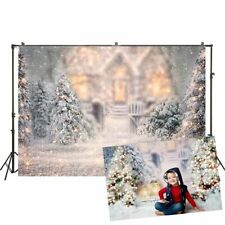 Photography Backdrop Winter Christmas Trees Lights Snow Photo Back Studio Props