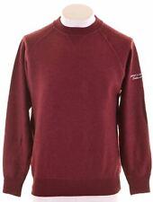 MURPHY & NYE Mens Crew Neck Jumper Sweater Medium Burgundy Wool  BT08