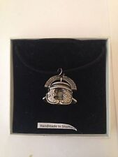 Roman Centurion Helmet RHKR Pewter Pendant on a Black Cord Necklace