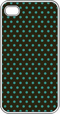 Chocolate Brown and Teal Blue Polka Dot Design iPhone 4 4s Hard Clear Case Cover