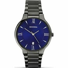 Sekonda Equinox Mens Blue Dial Black Bracelet Watch 1140 RRP £59.99