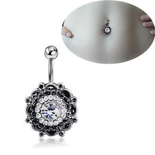 Beauty Retro Flower Crystal Navel Belly Button Ring Bar Body Piercing Jewelry