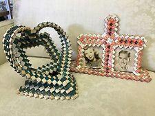1940s Prison Folk Tramp Art Woven Cigarette Package Picture Frames Heart!!