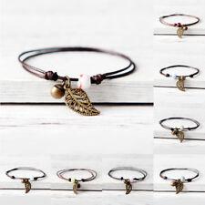 Women Vintage Ceramic Beaded Bracelet Anklet  Rope Chain Barefoot Jewelry Gift